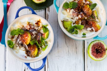 Grilled Figs on Yogurt and Balsamic Glaze