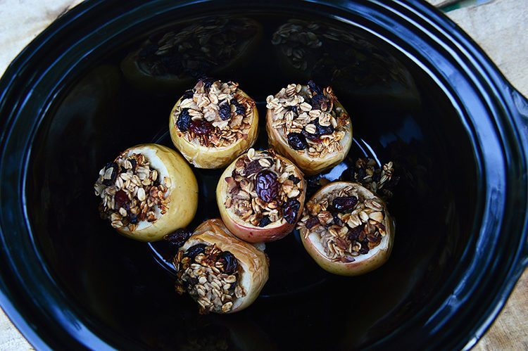 Slow Cooker Honey Baked Apples with Granola