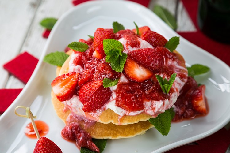 Pancakes with Strawberry Compote