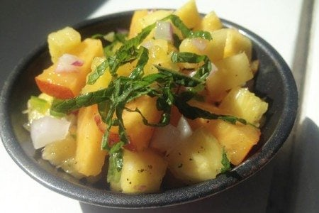 Pineapple and Peach Salsa with Mint