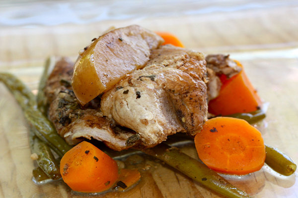 Balsamic Glazed Pork with Apples Green Beans and Carrots