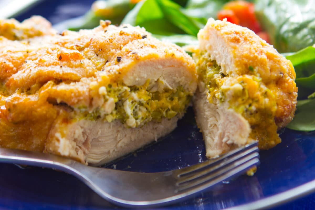 Enjoy the simplicity of this broccoli cheese stuffed chicken.