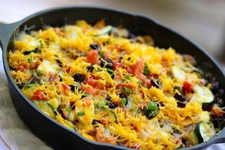 Cheesy Skillet Bean & Veggie Taco