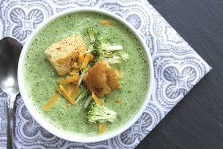 Slow Cooked Broccoli and Asparagus Soup with Garlic Cheddar Croutons