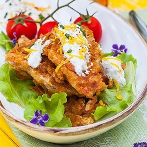 Cornflake Crusted Fish with Chili Tartar Sauce