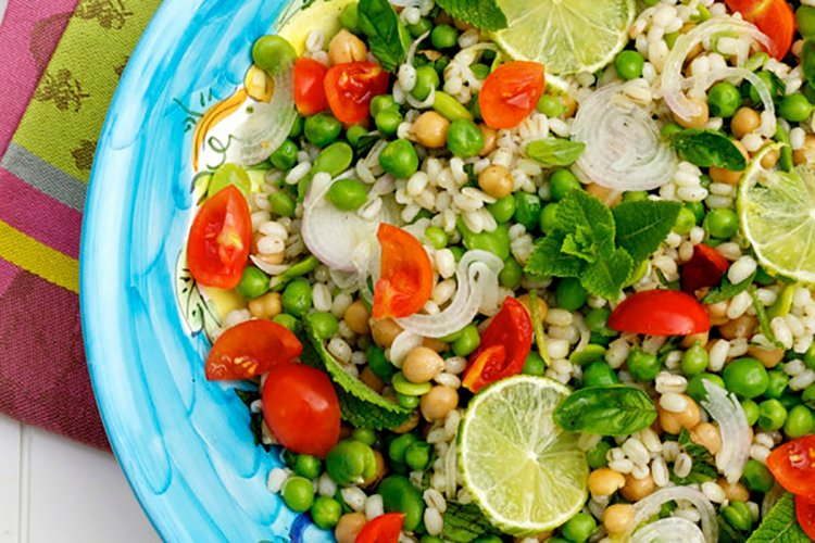 Barley Salad with Chickpeas, Fava Beans & Peas