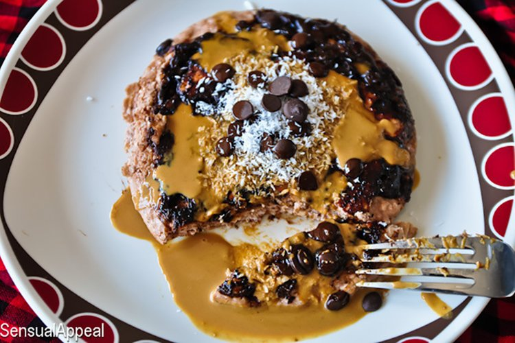 Carob Chip Coconut Protein Pancakes