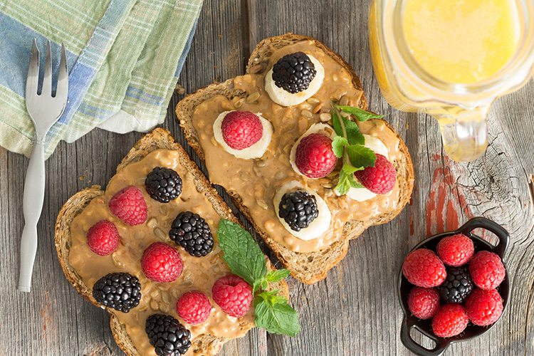 Peanut Butter and Fresh Raspberries on Toast