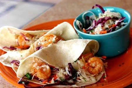 Shrimp Tacos with Sweet & Tangy Slaw