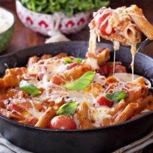 Mozzarella and Penne Pasta Bake