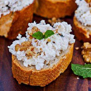 Crostini with Creamy Cheese and Walnuts