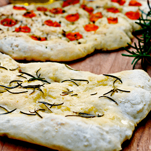 Focaccia with Rosemary and Cherry Tomatoes