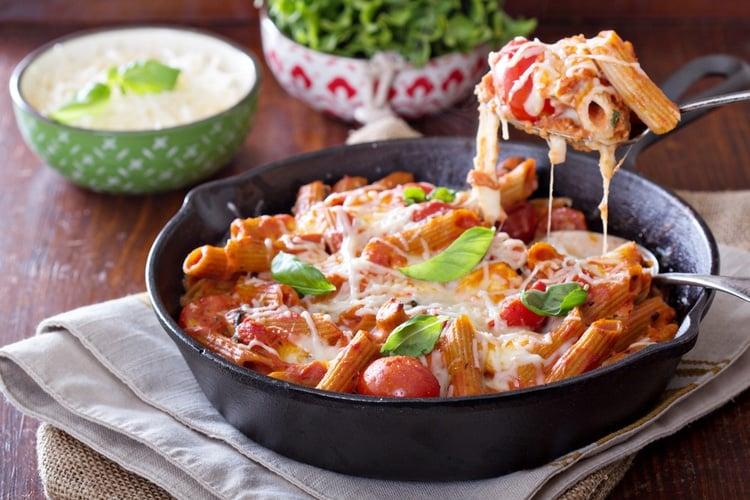 Mozzarella, Basil, and Tomato Pasta Bake