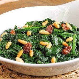 Spinach Sauté with Pine Nuts and Golden Raisins