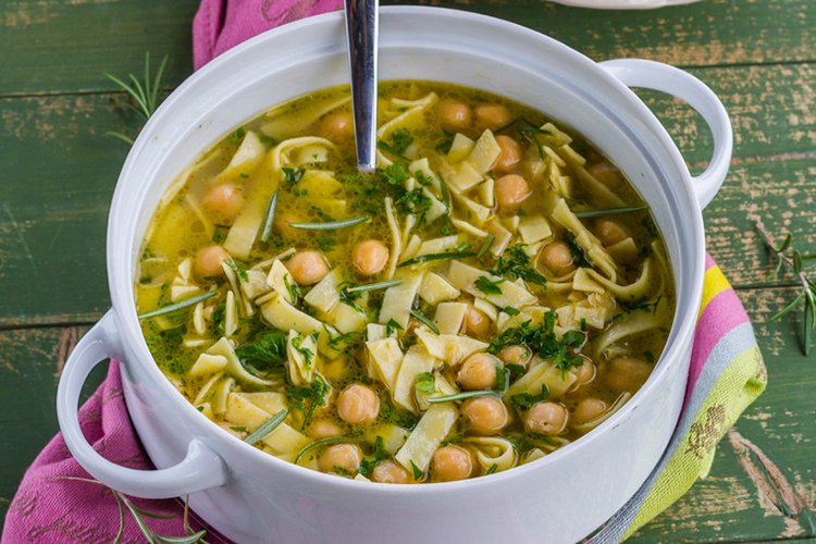 Egg Noodles and Chickpea Soup