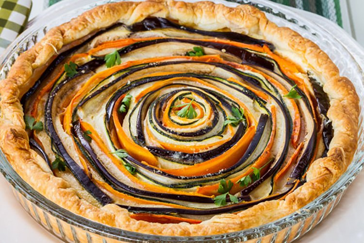Spiral Vegetable Ricotta Pie