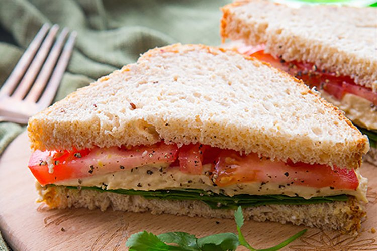 Tomato Hummus And Spinach Sandwich