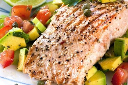 Black Pepper Salmon with Avocado Salad