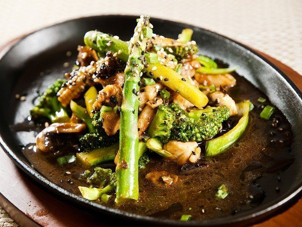 Chicken Broccoli and Asparagus Stir-Fry