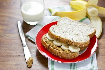 Chunky Peanut Butter and Banana Sandwich