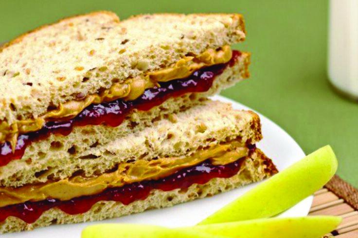 almond butter and jam sandwich