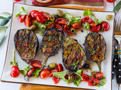 Grilled Spicy Mediterranean Eggplant With Tomato Salad