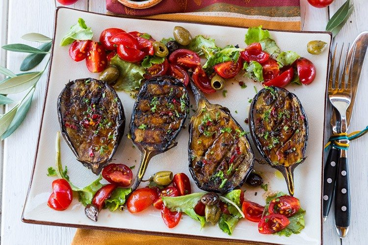 Grilled Spicy Mediterranean Eggplants with Tomato Salad