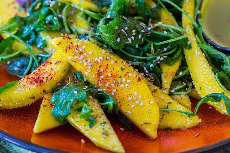 Mango and Arugula Salad with Cilantro Crema Recipe1