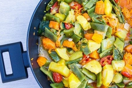 One Skillet Mixed Vegetables