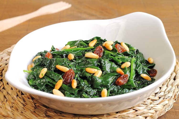 Spinach Saute with Pine Nuts and Golden Raisins