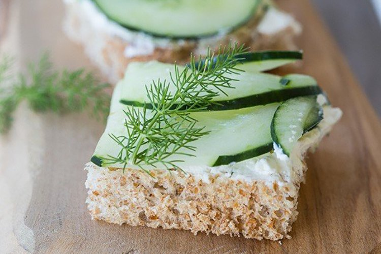 cucumber dill and cream cheese sandwiches on wheat toast