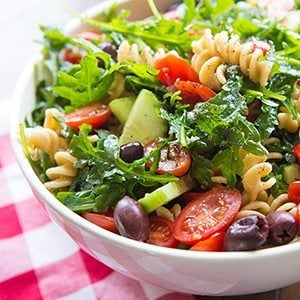 Easy Pasta Salad with Cucumbers & Tomatoes
