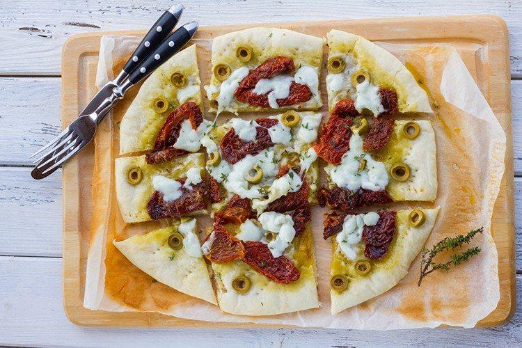 Focaccia With Sun Dried Tomatoes, Mozzarella & Olives Recipe