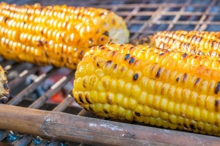 Grilled Corn on the Cob with Basil & Olive Oil