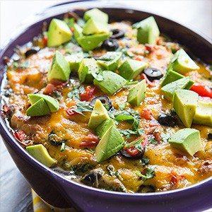 Cheesy Quinoa Enchilada Bake