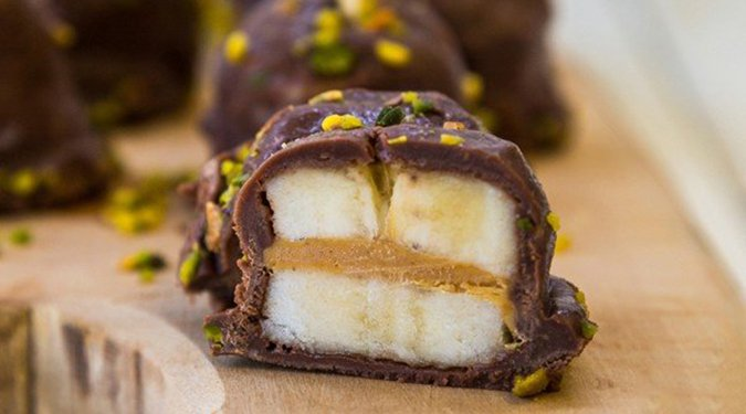 chocolate-covered peanut butter banana bites