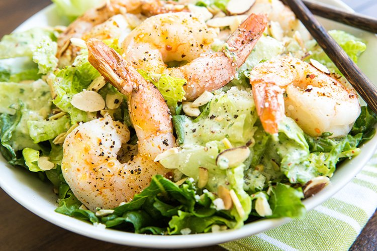 Roasted Shrimp Salad with Buttermilk-Cilantro Dressing