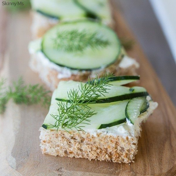 Cucumber Dill and Cream Cheese Sandwiches on Wheat Toast Recipe Slider