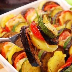 Tomato, Zucchini, and Eggplant Gratin