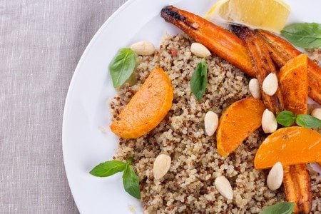 Grilled Pumpkin and Carrots over Quinoa