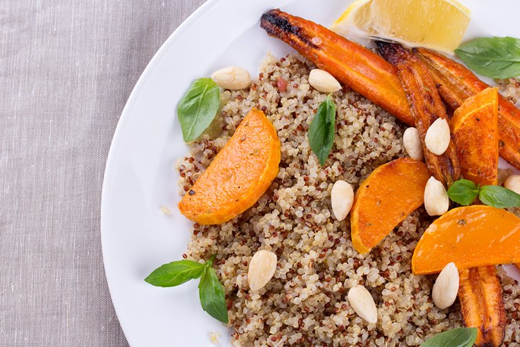 Grilled Pumpkin and Carrot over Quinoa