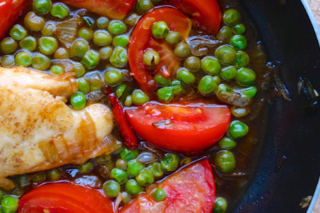 White Fish with Tomato and Peas