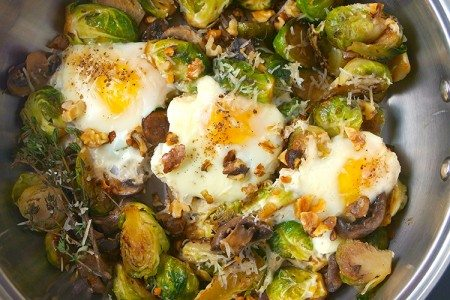 Fried Eggs with Mushrooms & Brussels Sprouts