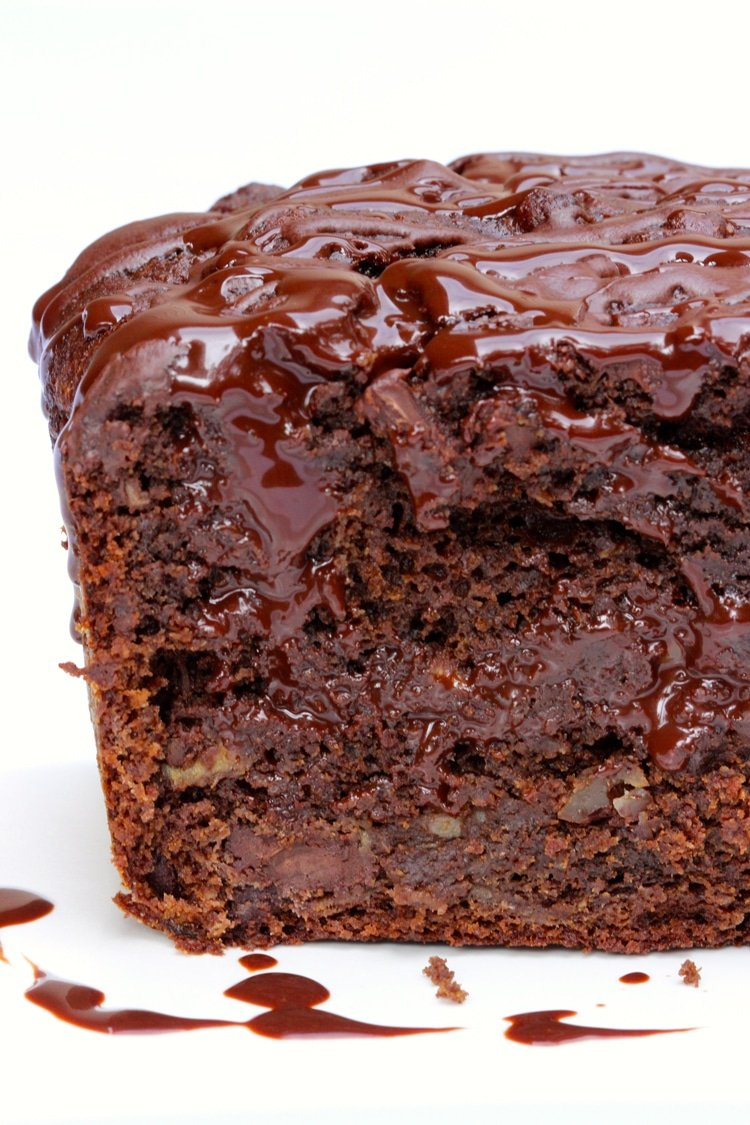 This dessert recipe is a banana bread, fudge mix with a chocolate inside and hot fudge sauce on top!
