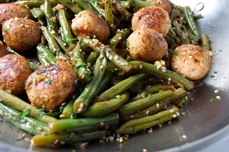 Green Bean and Meatball Stir-Fry