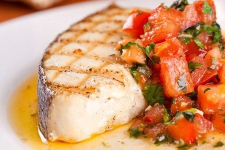 Halibut Steaks with Pico de Gallo