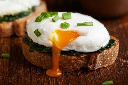 Poached Eggs with Wilted Spinach on Toast