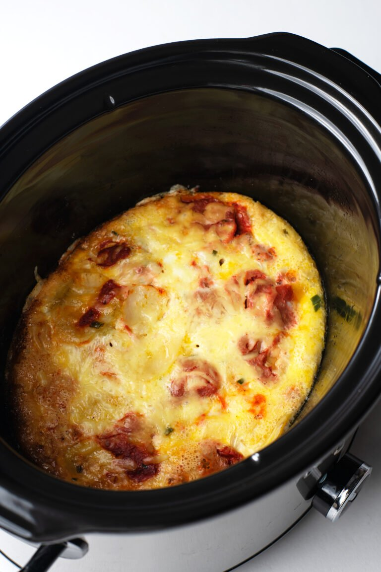 This slow cooker breakfast casserole makes for an easy morning!