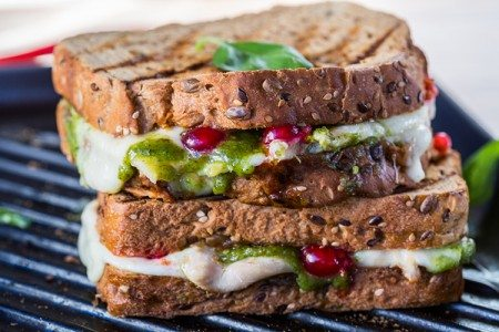 Turkey, Pesto, and Cranberry Melt