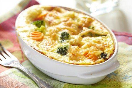 Cheesy Broccoli with Cauliflower Gratin